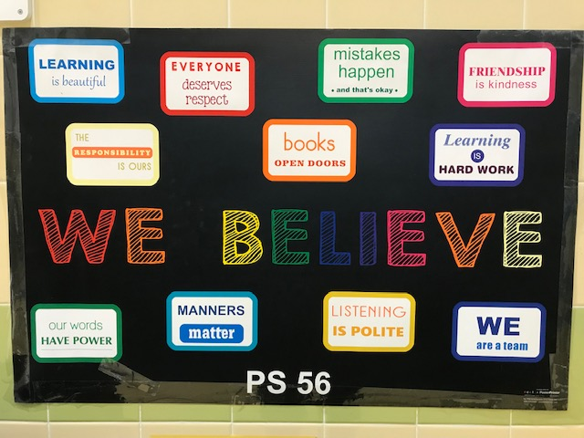 """We Believe"" school chart."