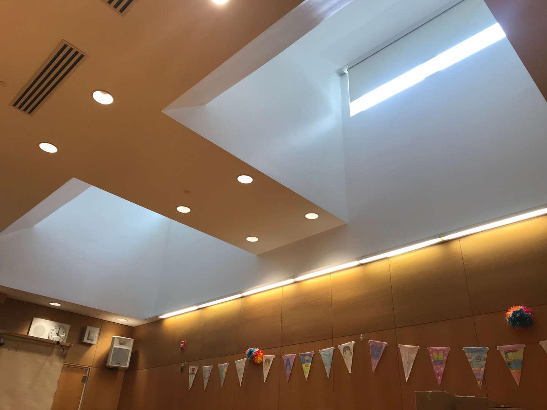 Multi purpose room skylight ceiling view.