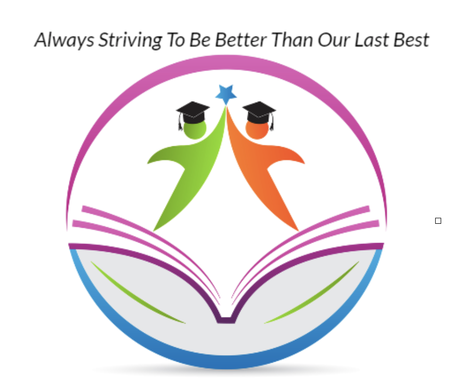 P.S. 56 school logo that shows an illustration of an open book and two student figures coming together in joining hands.