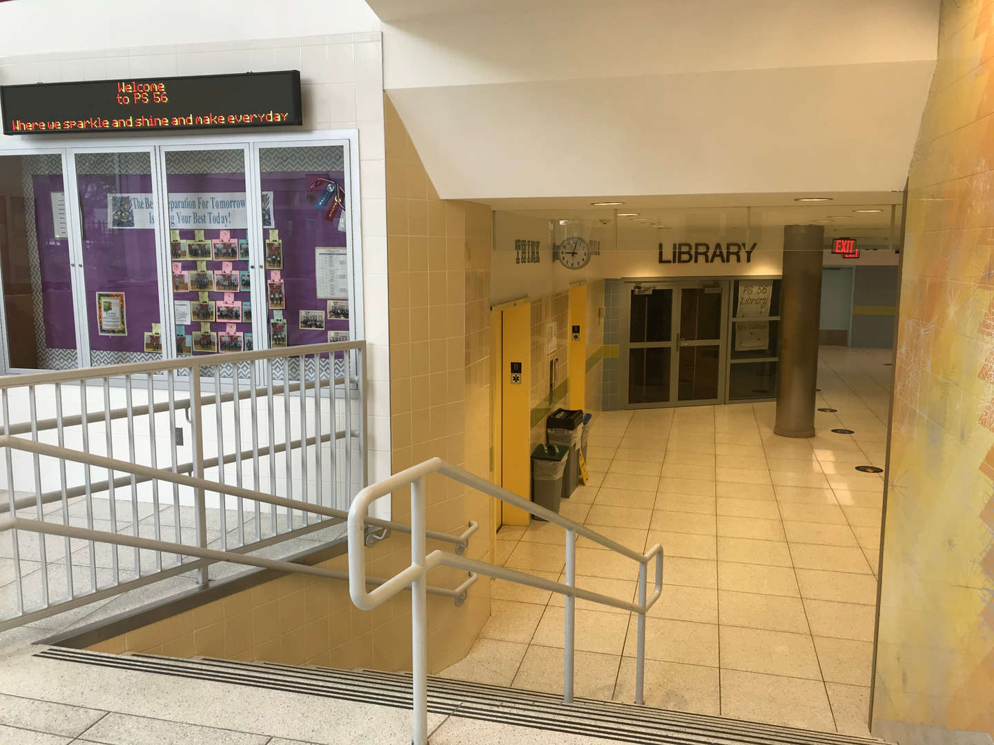 PS 56 library entrance floor.