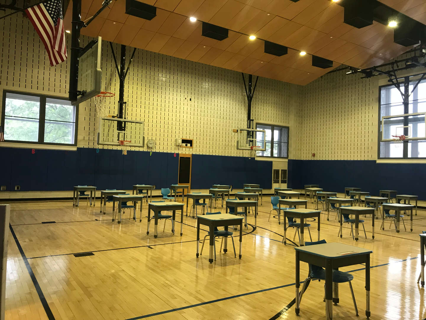 Inside gym looking away from stage view.