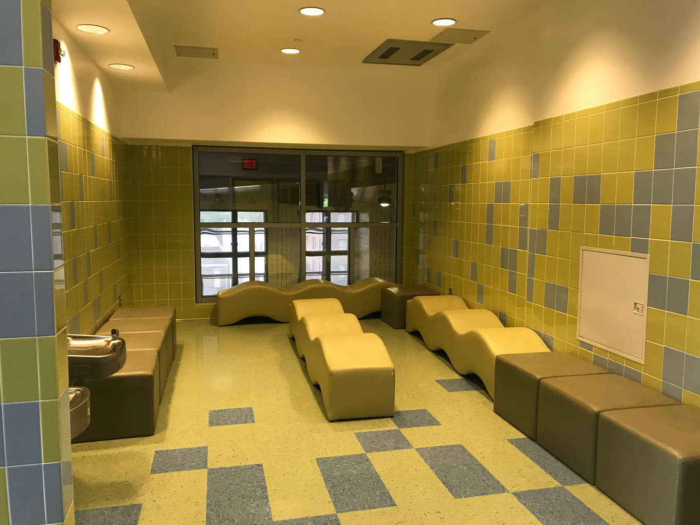 2nd floor hallway seating area for students.