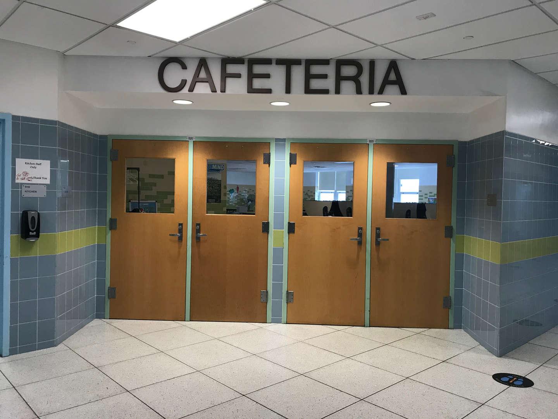 School cafeteria entrance doors.