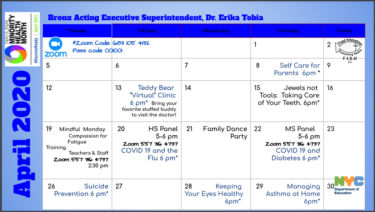 Zoom Calendar with Bronx Acting Executive Superintendent, Dr. Erika Tobia.