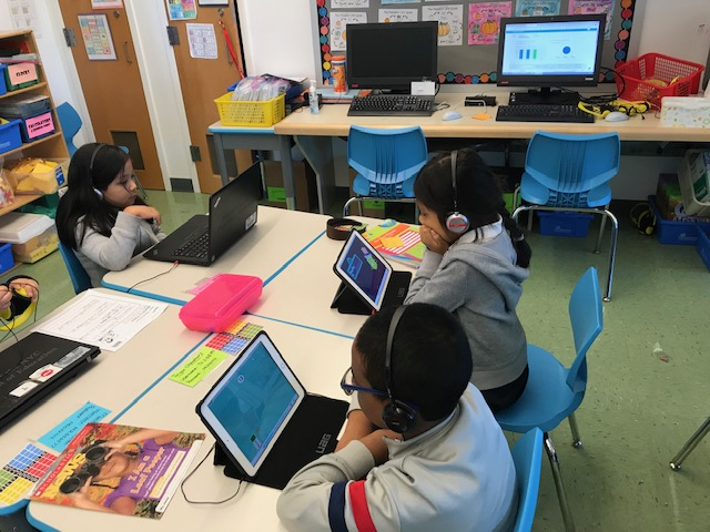 2nd grade students using tablets.
