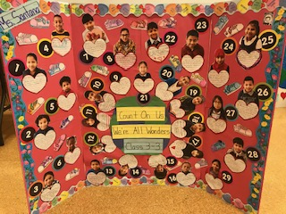 """Count on us, we're all wonders!"" class project poster board."