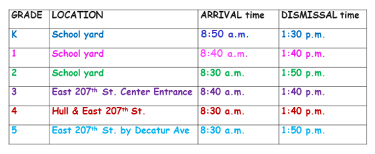 Grades K to 5 arrival and dismissal time and location.