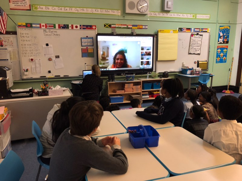 Students Skype with an educator in Bangladesh.