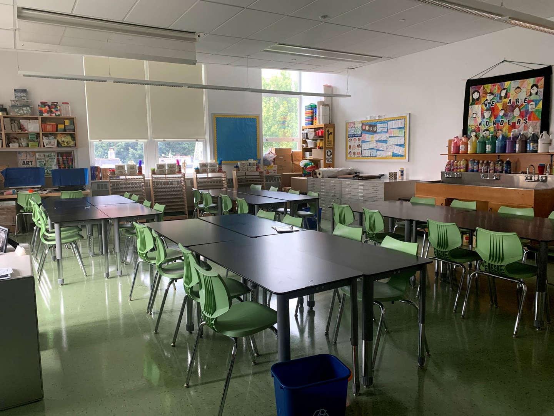 Art room student seating area.