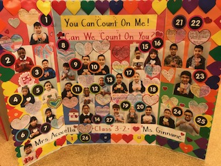 """You can count on me! Can we count on you?"" class poster board."
