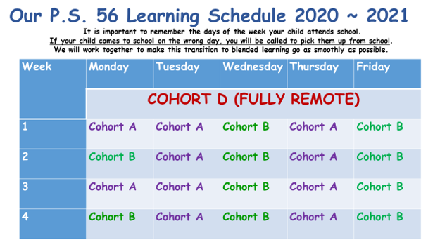 Remote Learning Schedule 2020.