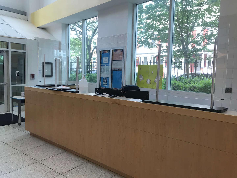 School security desk on the main lobby.