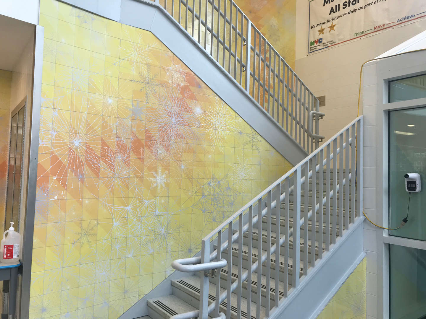 Security lobby staircase leading towards the first floor.