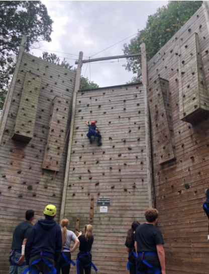 Students on the rock climbing wall