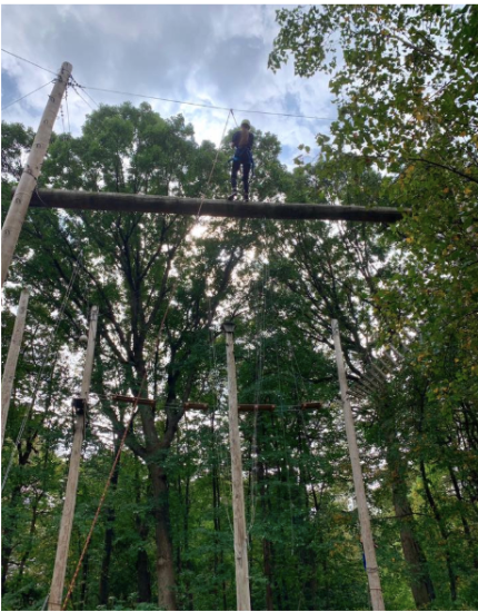 Students walking high above the ground