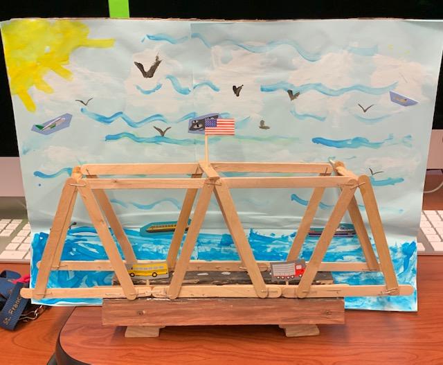 Maker Space Bridge Project using popsicle sticks
