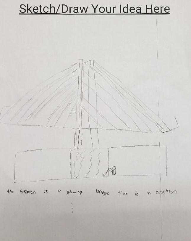 Drawing of a bridge maker space project
