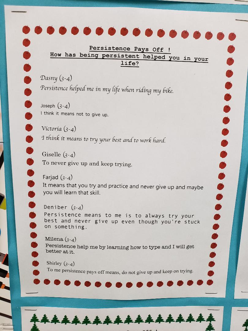 Persistence Pays Off Student work 3-4