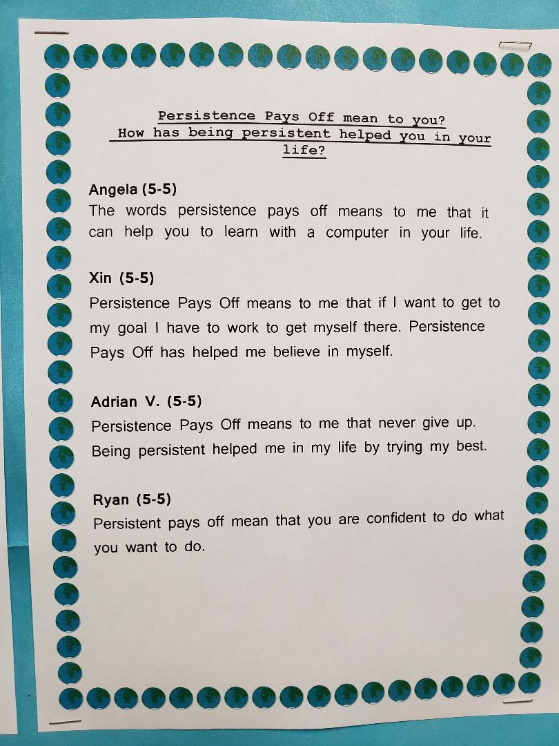 Class 5-5's Persistence Pays Off Student work