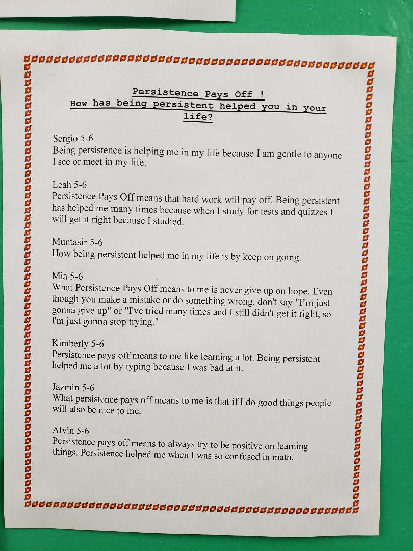 Persistence Pays Off Student work 5-6