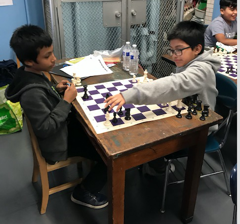 One student makes his next move.