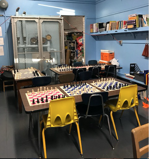 Chess games set up.
