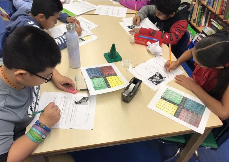 Students work on their mood meters.