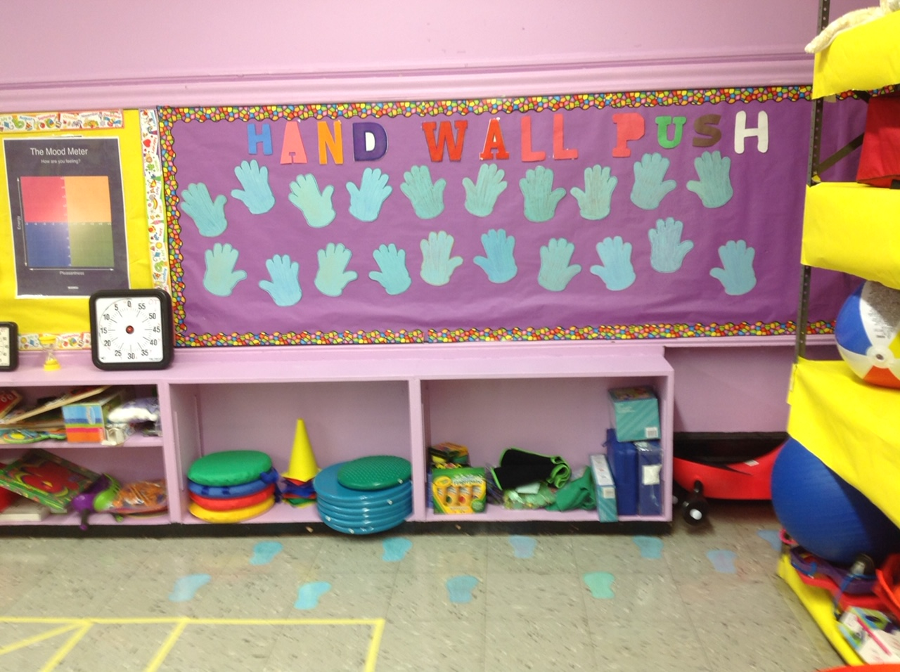 Hand Wall Push activity in our Sensory Room.