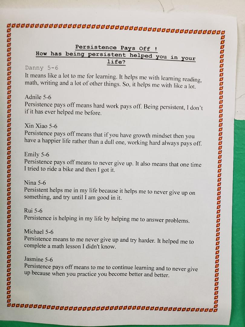 Samples of Class 5-6's Persistence Pays Off Student work