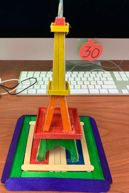 Maker space project of the Eiffel Tour made out of popsicles