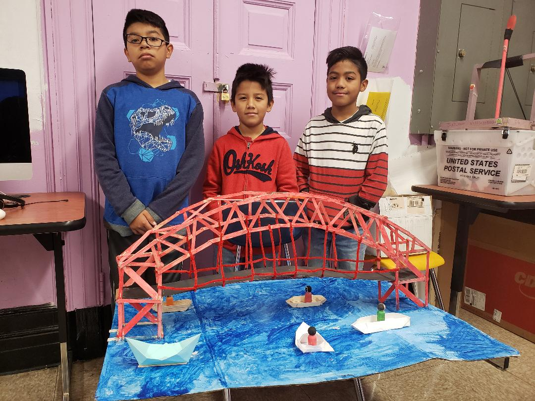5th Grade Makers display their bridge project