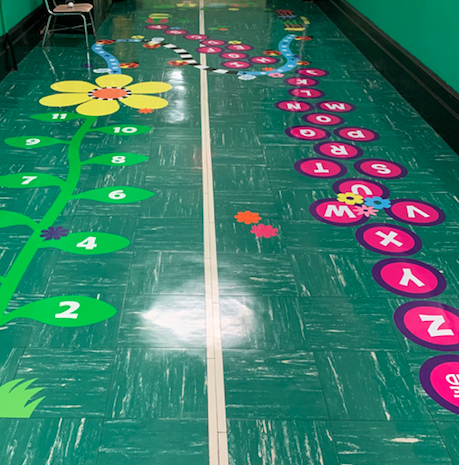 Number and Alphabet activities in our Sensory Hallway