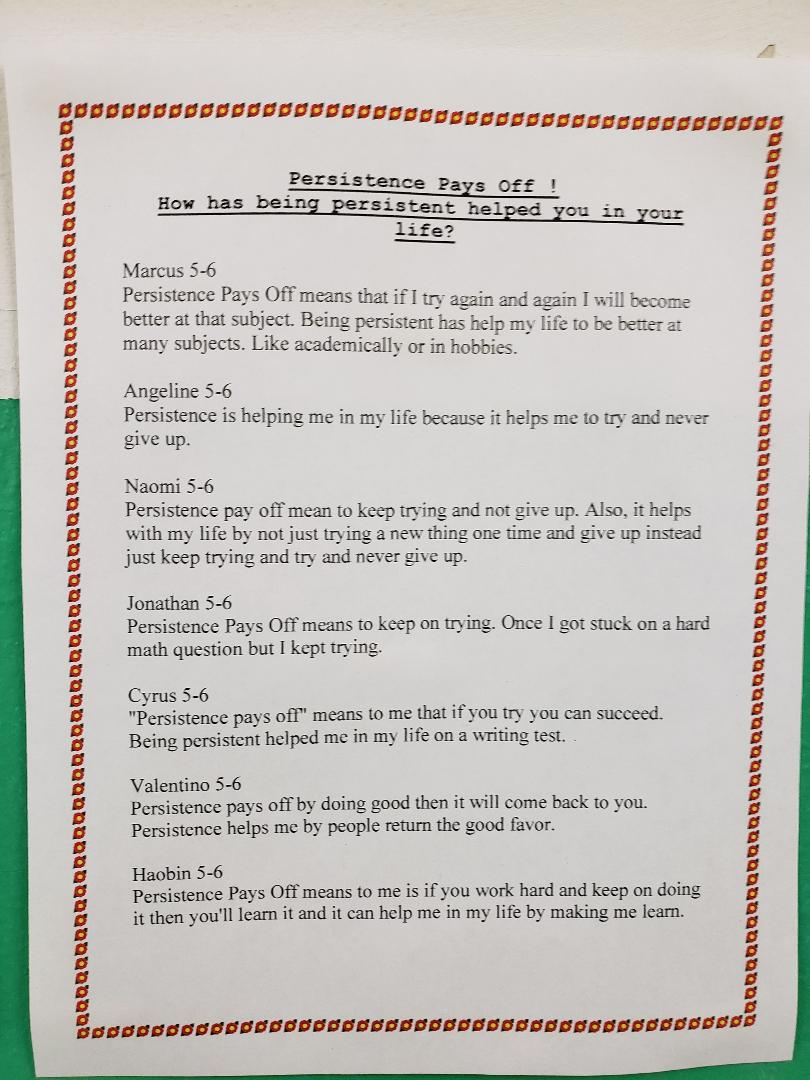 Class 5-6's Persistence Pays Off Student work