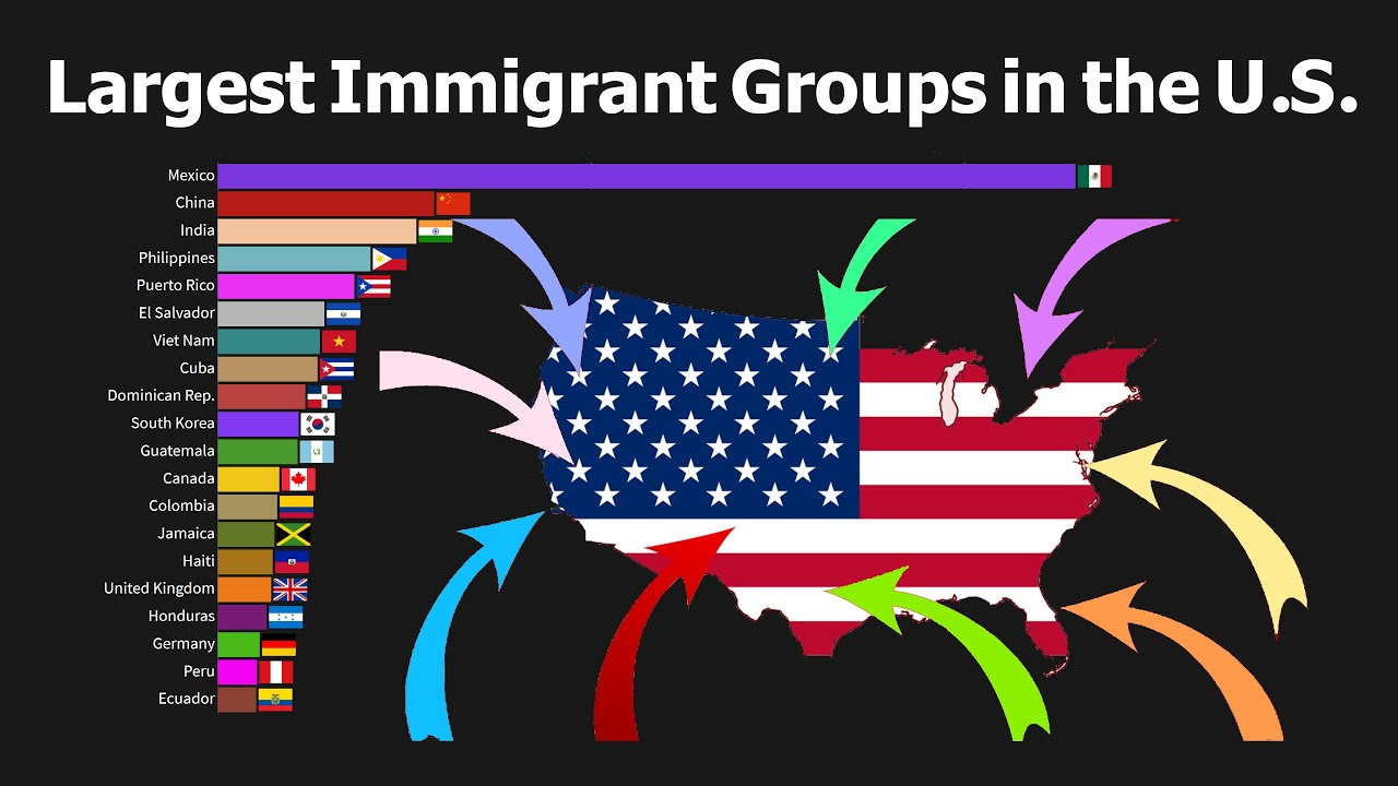A chart showing large immigrant groups in the US.