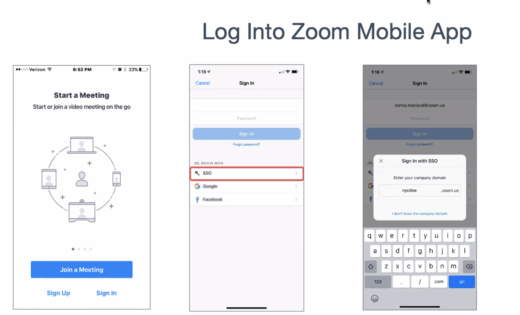 Login app instructions using SSO