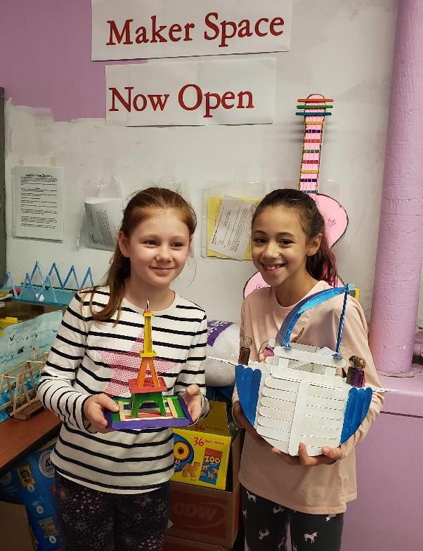 5th Grade students sharing their Maker Space projects
