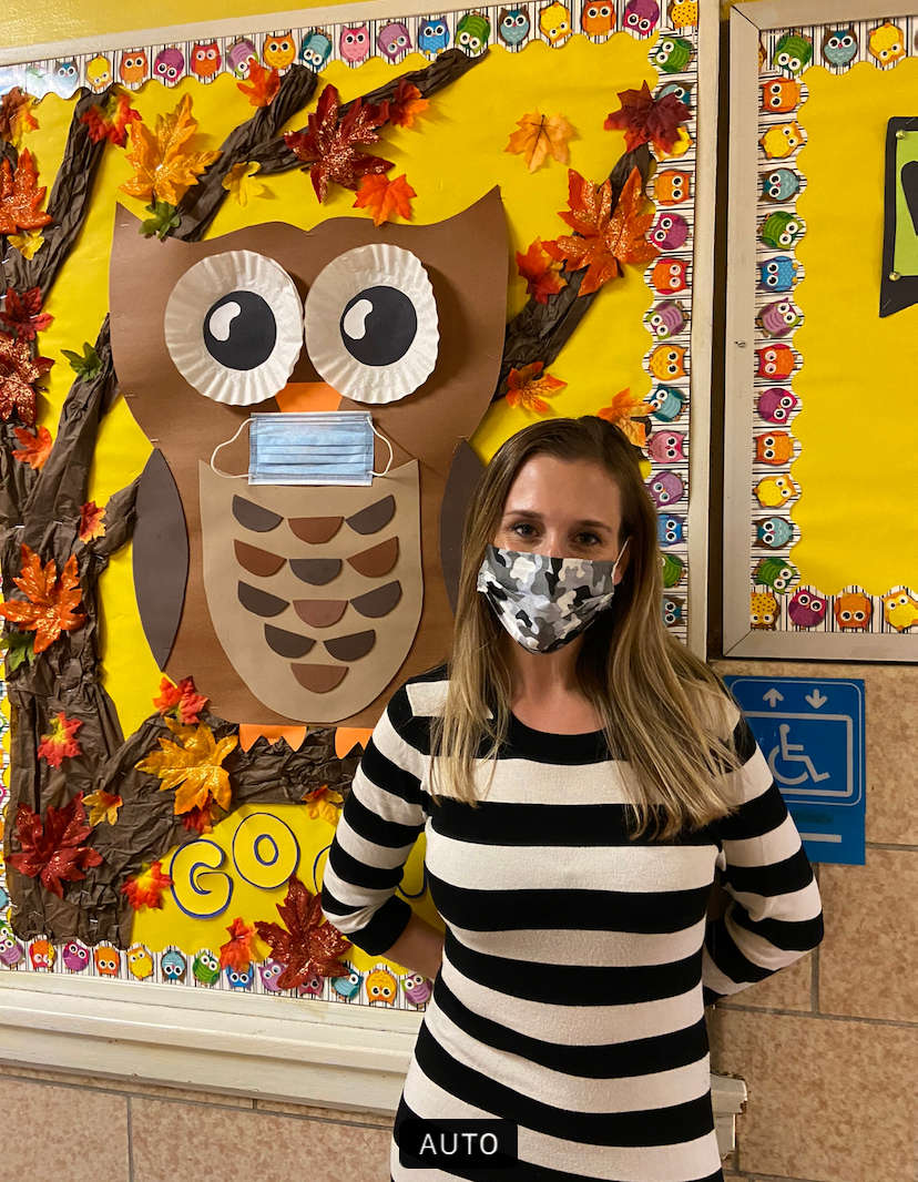 Ms Capowski with a camouflage mask