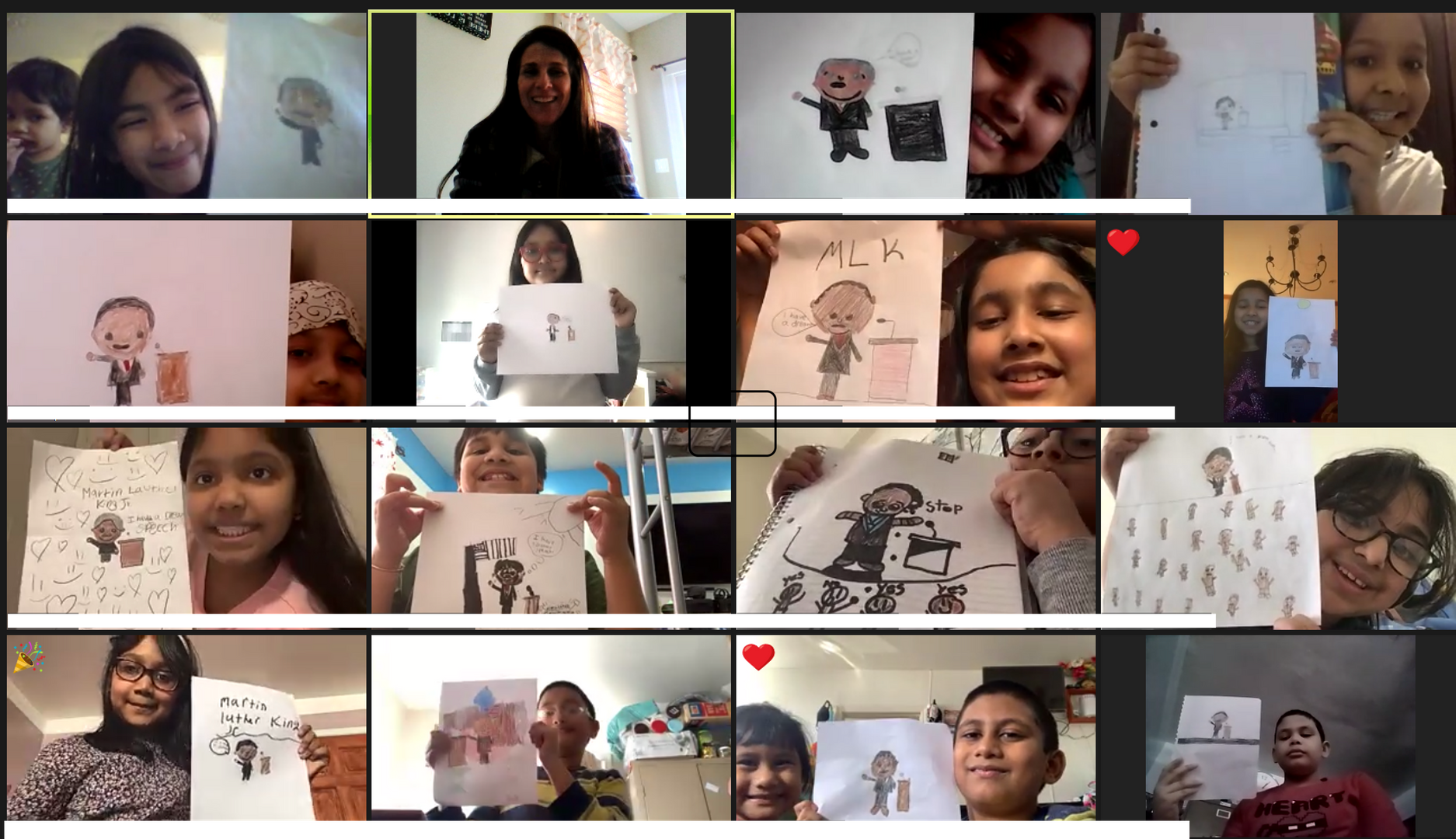3rd graders showing their MLK projects via Zoom