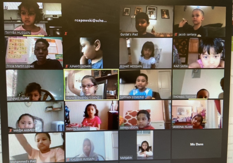 students in a zoom lesson