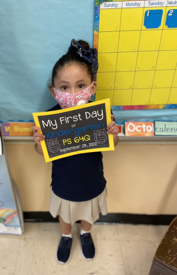 first day of school photo for a kindergarten student