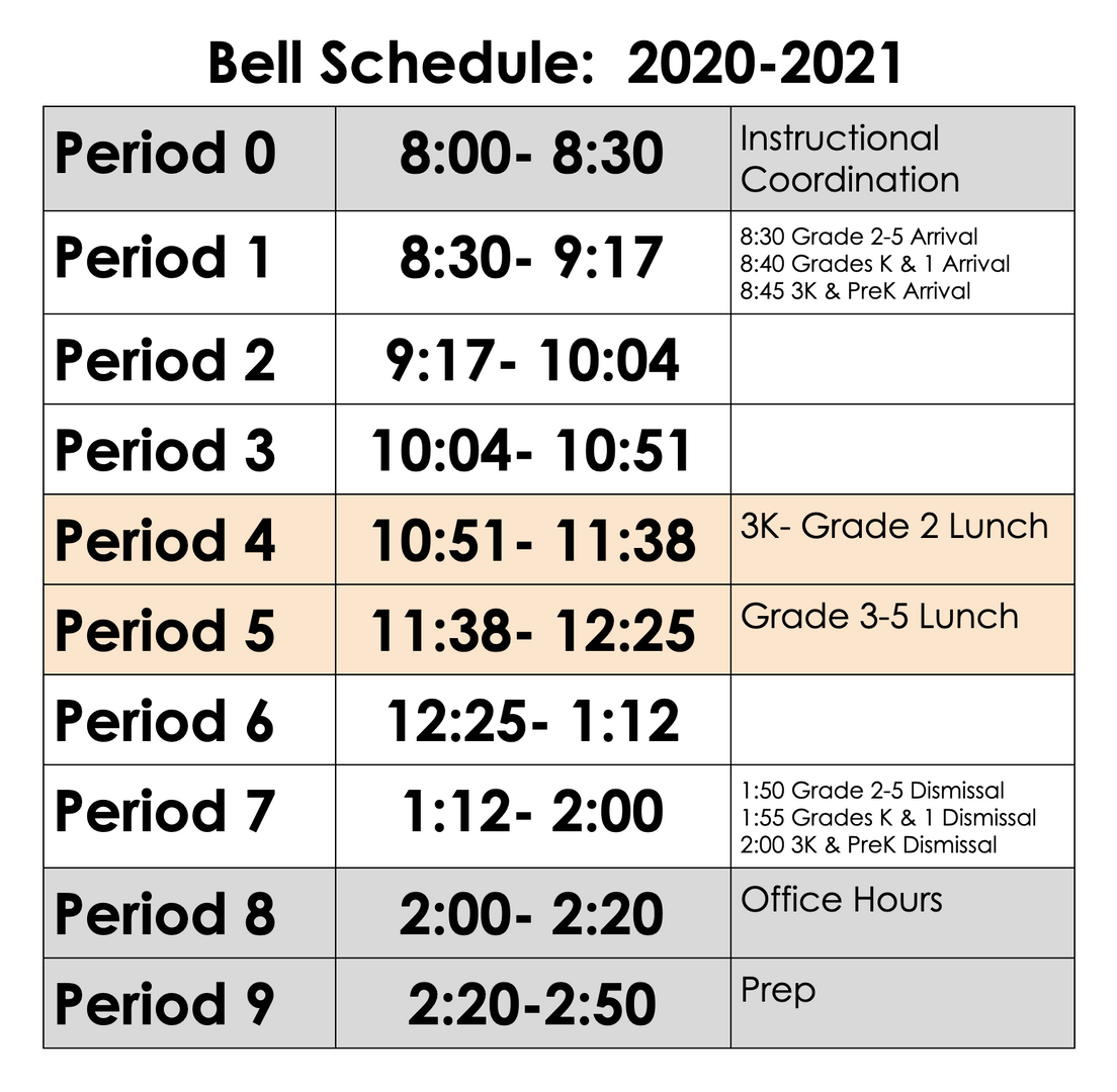 Grade 2-5 8:30 Grade K-1 8:40 3K/PreK 8:45 Grade 2-5 1:50 Grade K-1 1:55 3K/PreK 2:00