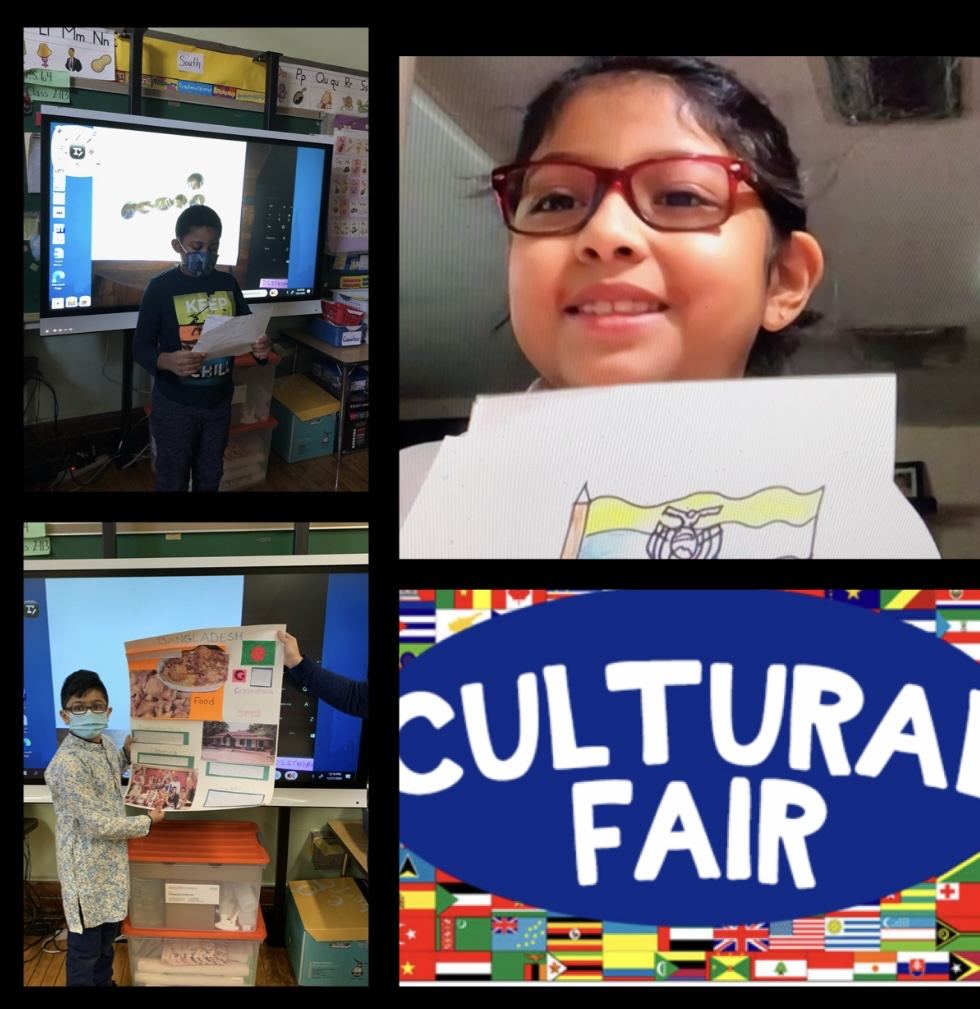 Third graders holding up their cultural fair projects on Zoom
