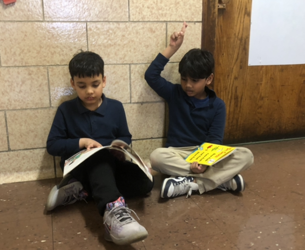 two students both reading