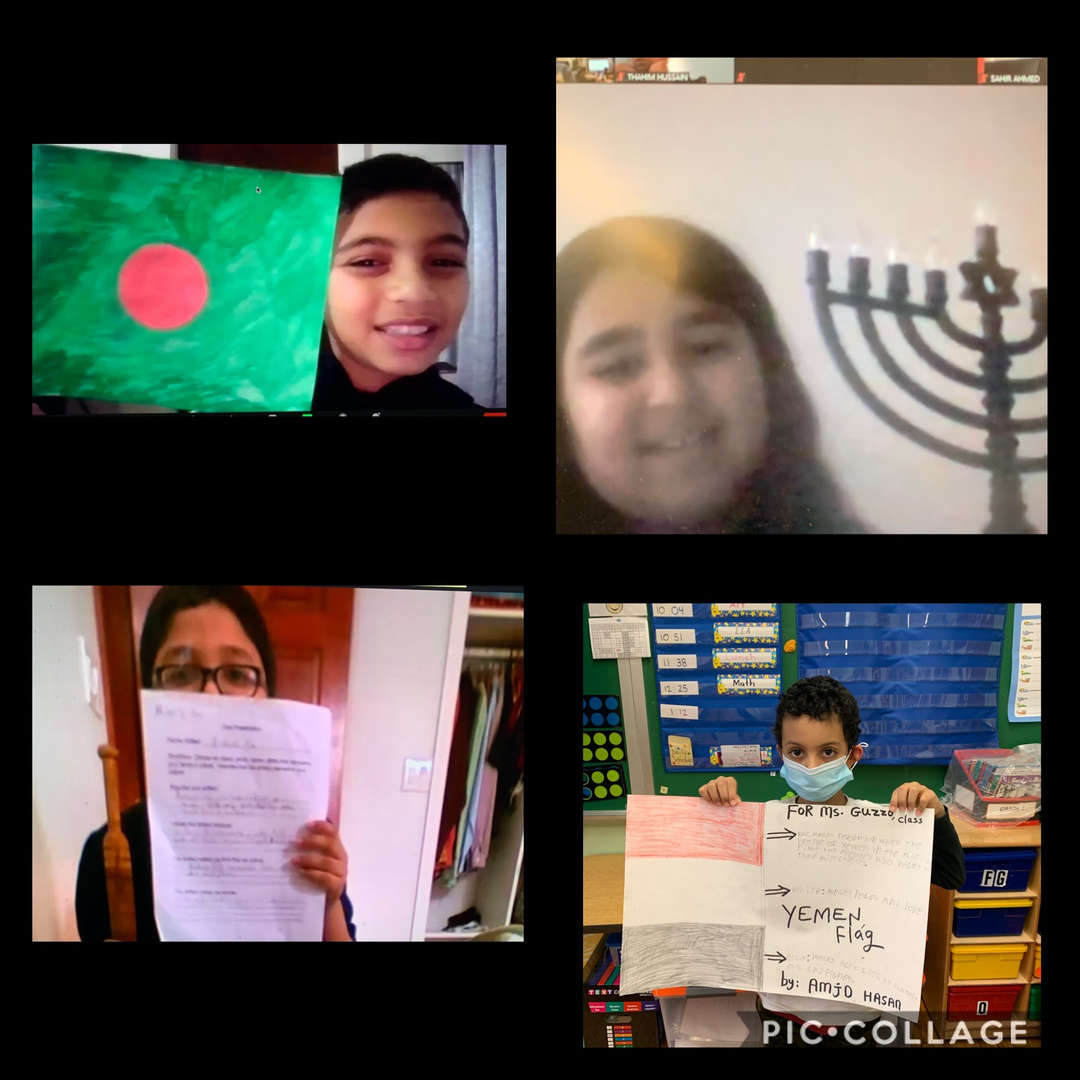 third graders showing their culture projects