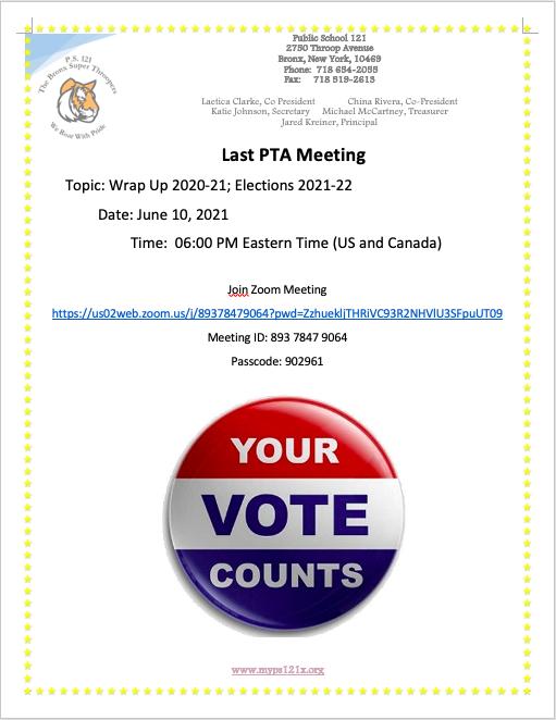 Last PTA Meeting June 10, 2021 6:00 PM Join Zoom Call https://us02web.zoom.us/j/89378479064?pwd=ZzhuekljTHRiVC93R2NHVlU3SFpuUT09 Meeting ID: 893 7847 9064 Passcode: 902961
