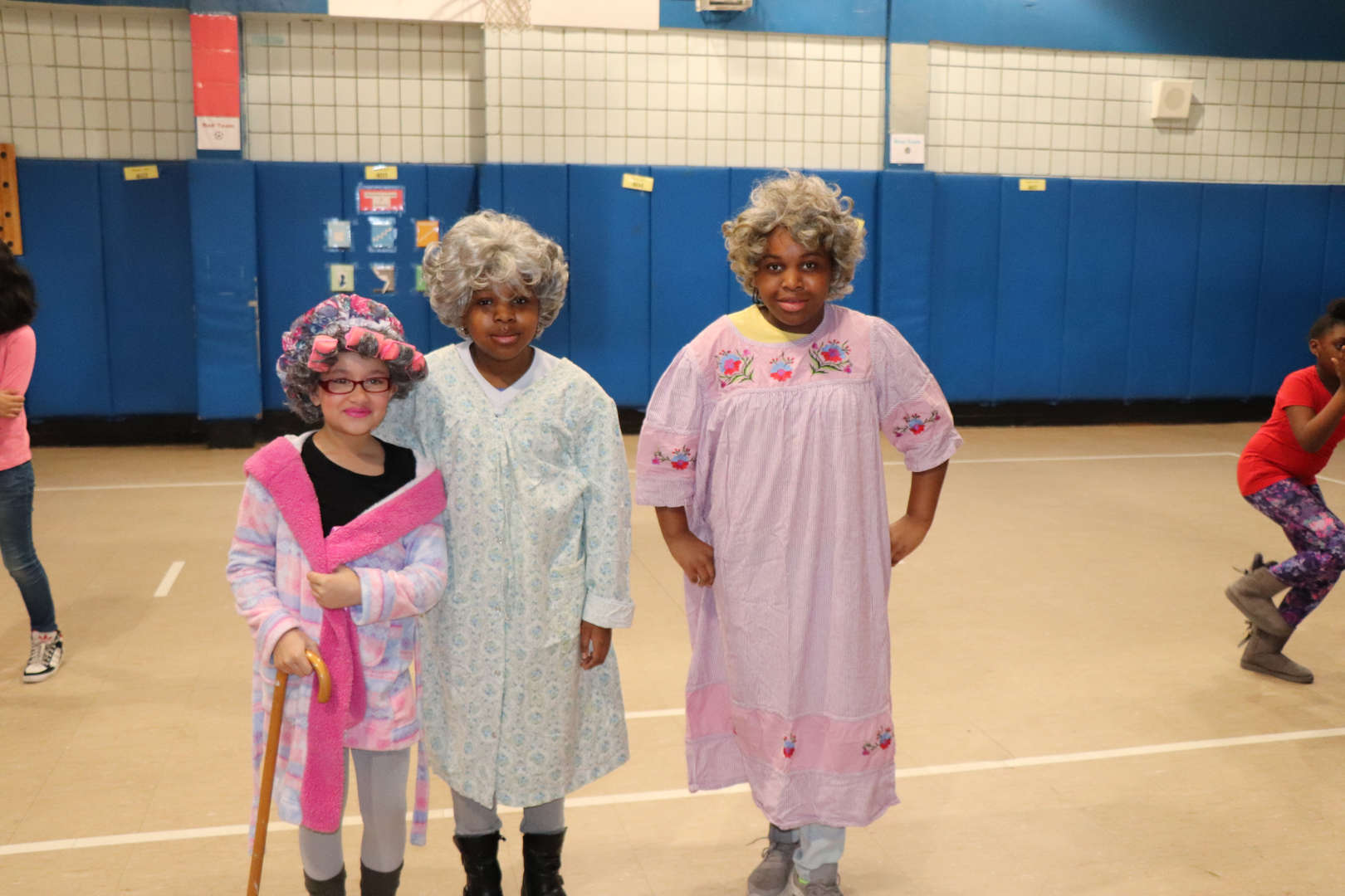 Some students dressed up like they are 100 years old.