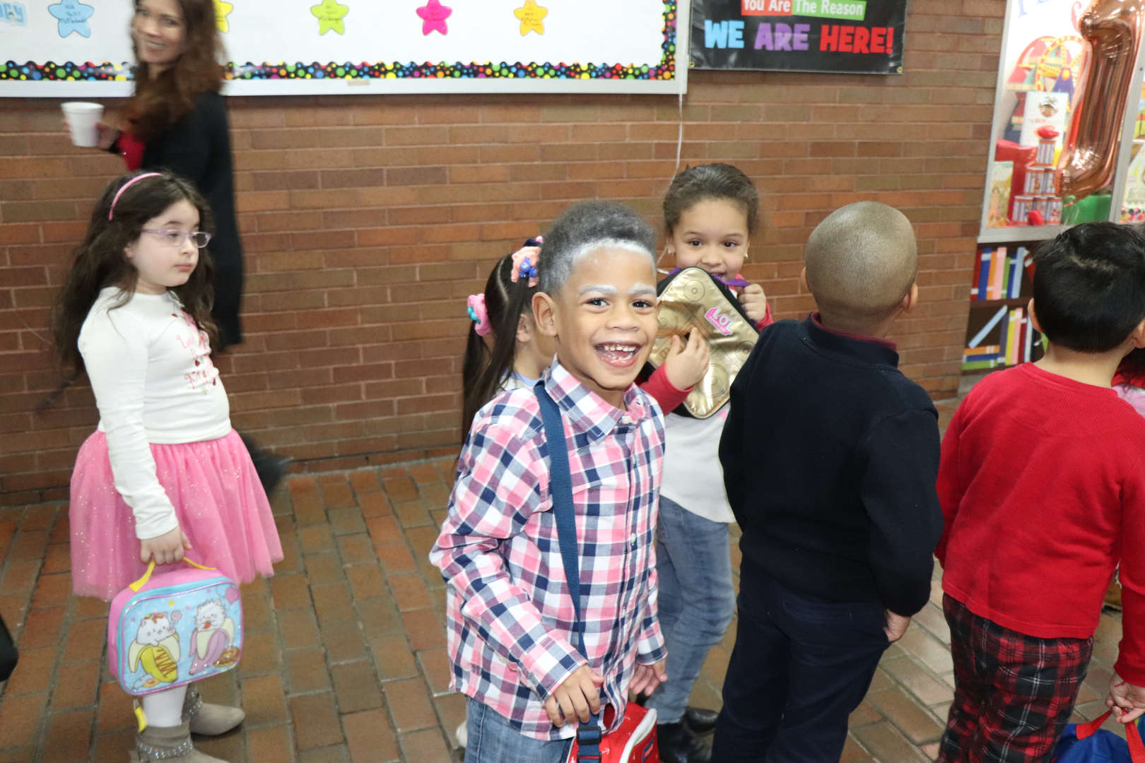 Students dressed like they are 100 to celebrate 100 days of school.