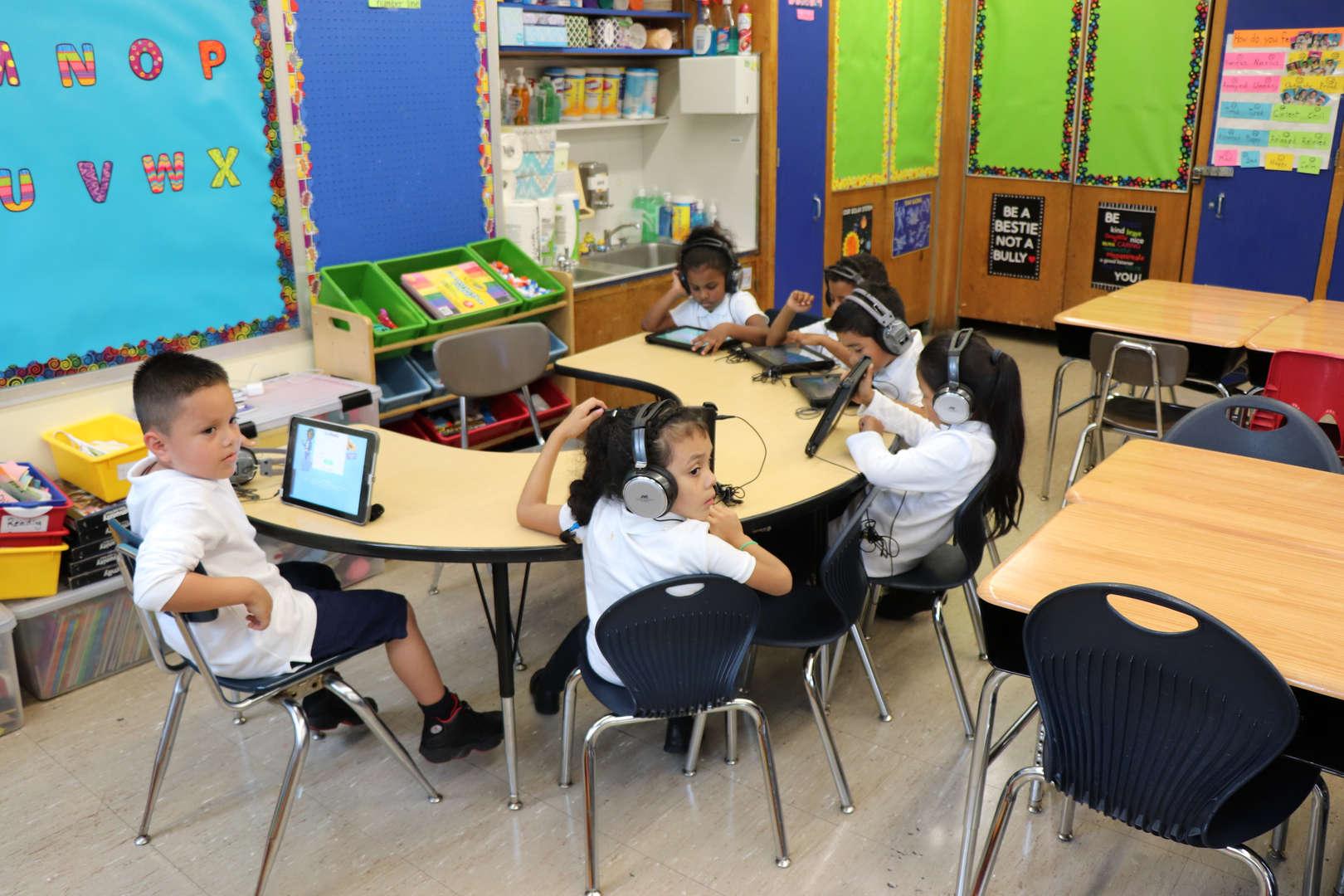 Students working hard on iReady.