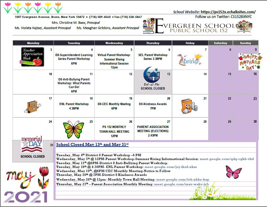 PS 152 May Calendar of Events