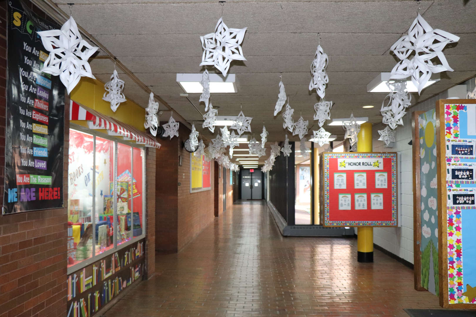 The paper snowflakes that lined the main lobby.